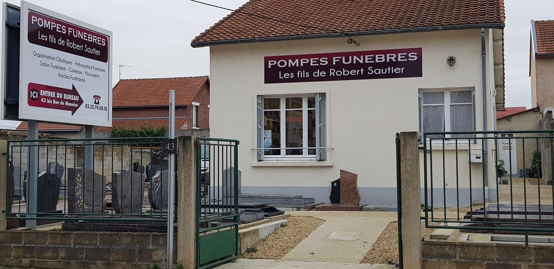 Façade de l'agence Pompes funèbres Sautier à Laon